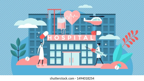 Hospital vector illustration. Flat tiny medical ambulance person concept. Professional clinic with doctors, pharmacy and medication transportation. Aid urgency building and disease pills visualization
