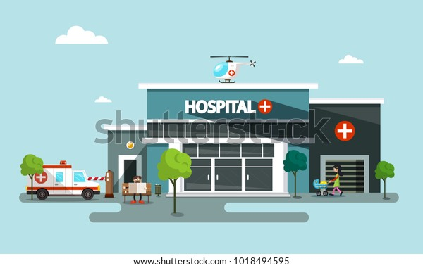 Hospital Vector Symbol with Helicopter, Ambulance Car and People
