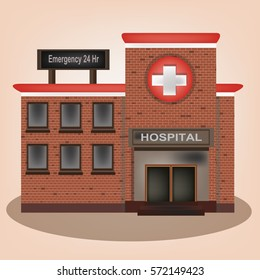 Hospital vintage old building facade icon retro style.