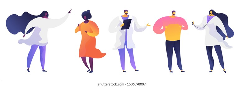 Hospital visit flat vector illustrations set. Doctors in white coats and patients cartoon characters. Professional consultation, healthcare service. Therapist with stethoscope. Medical clinic staff