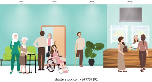 hospital waiting room clinic lobby reception and pharmacy illustration of people nurse waiting working situation activities