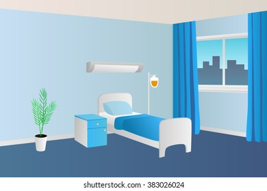 Hospital ward clinic room interior illustration vector