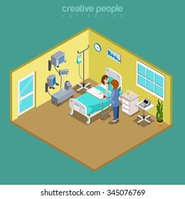 Hospital ward patient bed nurse care visiting flat 3d isometry isometric medical concept web vector illustration. Young sick female nursing checkup. Creative people collection