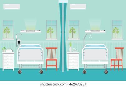 Hospital ward room interior.