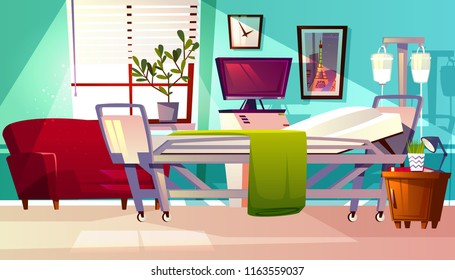 Hospital ward vector illustration of clinic patient room. Cartoon medical empty interior background with couch, intensive care unit or medicine dropper, chair furniture or computer and plant