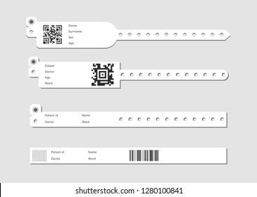 hospital wristband bracelet set . Medical patient id wristlet