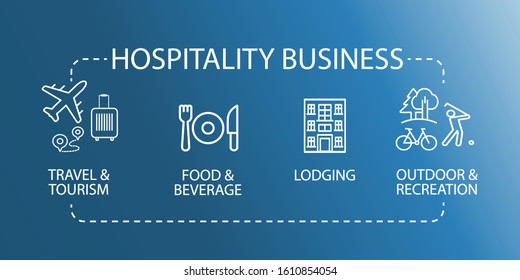 Hospitality Business Icon. Travel tourism food beverage recreation. EPS10 vector illustration.