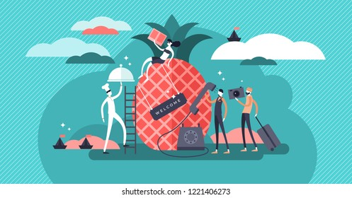 Hospitality flat vector illustration. Abstract image with tourists and holiday travelers. Stylized banner with waiter, housekeeper and receptionist. Good service, caring and welcome feeling industry.