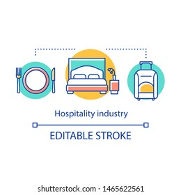 Hospitality industry concept icon. Lodging, food and drink service. Tourism and travel. Hotel accommodation with meals idea thin line illustration. Vector isolated outline drawing. Editable stroke