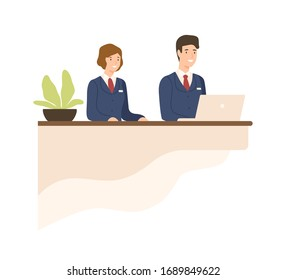 Hospitality male and female in uniform at counter vector flat illustration. Friendly cartoon receptionist working on desk reception isolated on white. Smiling operating personnel employee