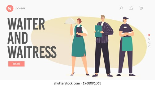 Hospitality Staff Characters in Uniform Landing Page Template. Restaurant Workers Team Administrator with Menu, Waitress Holding Tray under Cloche Lid and Waiter. Cartoon People Vector Illustration