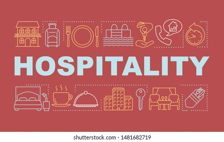 Hospitality word concepts banner. Lodging industry. Restaurant and hotel service. Presentation, website. Isolated lettering typography idea with linear icons. Vector outline illustration