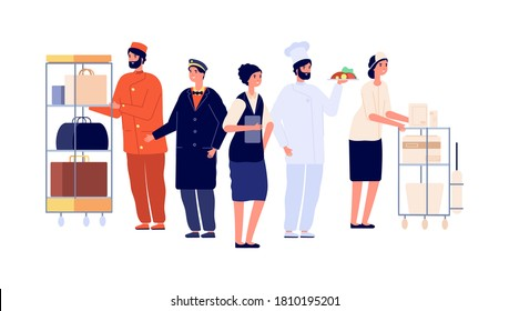 Hospitality workers. Hotel staff characters, receptionist porter maid doorman chef. Hostel team, travel and tourism vector illustration