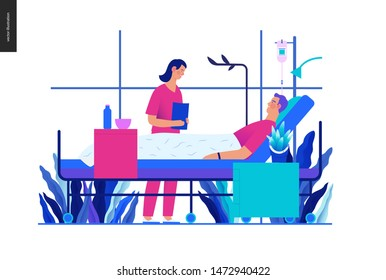 Hospitalization -medical insurance template -modern flat vector concept digital illustration - a hospital patient in the private ward and a doctor on ward round