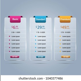 Host pricing for plan website banner. Customer buy package used.Vector illustration