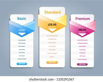 Host pricing for plan website banner. Customer buy package used.Vector illustration