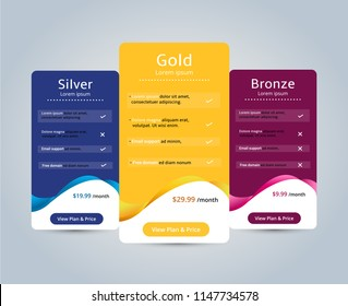 Host Pricing Table for plan website banner. Customer buy package used.Vector illustration