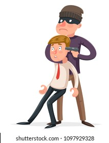 Hostage criminal thief gun character crime threat buyout request icon cartoon design vector illustration