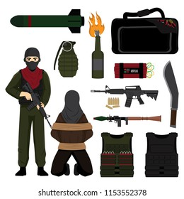 Hostage and Terrorist with Weapon Set