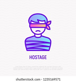 Hostage thin line icon: tied human. Modern vector illustration of kidnapping.