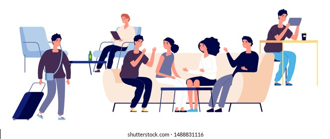 Hostel concept. Vector flat people characters. Hostel lounge illustration with happy men and women