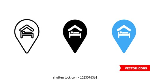 Hostel icon of 3 types: color, black and white, outline. Isolated vector sign symbol.
