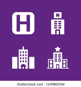 hostel icon. 4 hostel set with hotel vector icons for web and mobile app