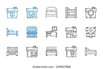 hostel icons set. Collection of hostel with bed, house, sleep, motel, bunk. Editable and scalable hostel icons.