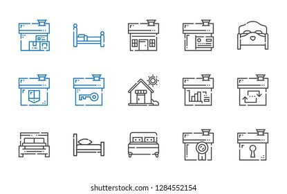 hostel icons set. Collection of hostel with house, bed. Editable and scalable hostel icons.