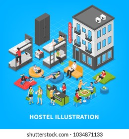 Hostel isometric composition with building outside, bunk beds, reception desk, rest zone on blue background vector illustration