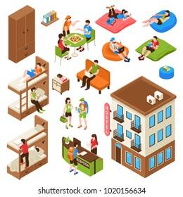 Hostel isometric icons set with building outside, bunk bed, reception desk, tourists during eating isolated vector illustration