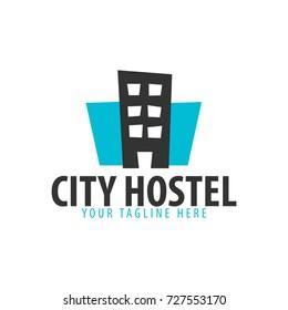 Hostel logo. Hotel logo. Travel rest place. Vector illustration