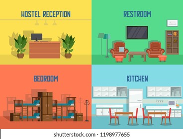 Hostel and Real Estate Service. Hostel Reception, Restroom, Bedroom, Kitchen. Real Estate Agency Concept. Apartment Interior in Hotel. Booking Hostel. Vector Flat Illustration.