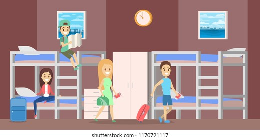 Hostel room interior with people inside. People sitting on the bed. Cheap accomodation. Flat vector illustration