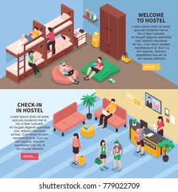 Hostel rooms horizontal isometric banners including bedroom with rest zone, reception hall with travelers isolated vector illustration