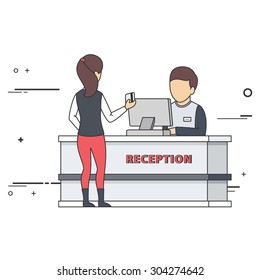 Hostess Talks with Guest at Reception Desk. Vector Flat Illustration.