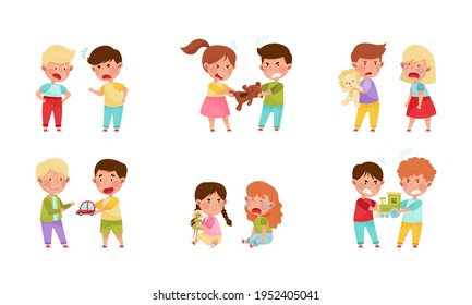 Hostile Kids with Angry Grimace Fighting Over Toys and Quarreling Vector Illustration Set