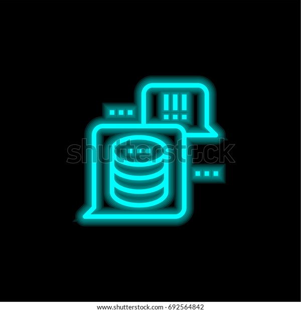Hosting blue glowing neon ui ux icon. Glowing sign logo vector