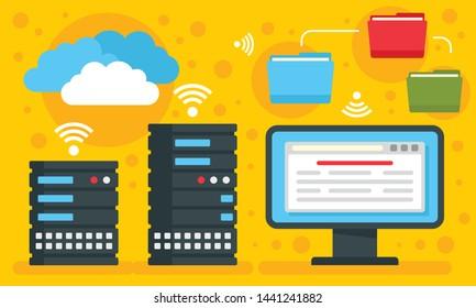 Hosting concept background. Flat illustration of hosting vector concept background for web design