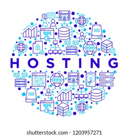 Hosting concept in circle with thin line icons: VPS, customer support, domain name, automated backup, SSD, control panel, secure server, local network, SSL. Vector illustration for banner, print media