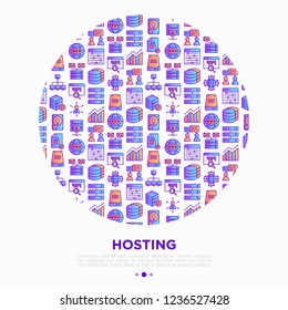 Hosting concept in circle thin line icons: VPS, customer support, domain name, automated backup, SSD, control panel, secure server, local network, SSL. Vector illustration for banner.
