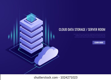 Hosting concept with cloud data storage and server room. Server rack with cloud.Vector illustration in Isometric style