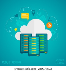 Hosting concept with data storage and exchange service flat icons set vector illustration