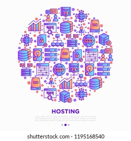 Hosting concept in half circle with thin line icons: VPS, customer support, domain name, automated backup, SSD, control panel, secure server, local network, SSL. Vector illustration.