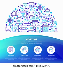 Hosting concept in half circle with thin line icons: VPS, customer support, domain name, automated backup, SSD, control panel, secure server, local network, SSL. Vector illustration, web page template