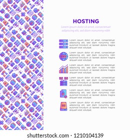 Hosting concept with thin line icons: VPS, customer support, domain name, automated backup, SSD, control panel, secure server, local network, SSL. Modern vector illustration for banner, print media.