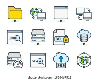 Hosting, Data server and Network storage related vector color line icons. Host infrastructure and Database colorful outline icon set.