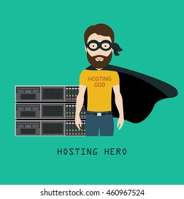 Hosting Hero in front of Servers Rack