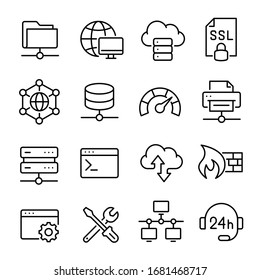 Hosting and local network icon set, communication for connection. Internal network, system hosting the webserver. Vector line art illustration