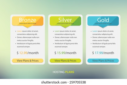 Hosting plans and price list web boxes design.